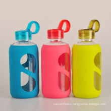 colorful easy carry cycling glass water bottle
